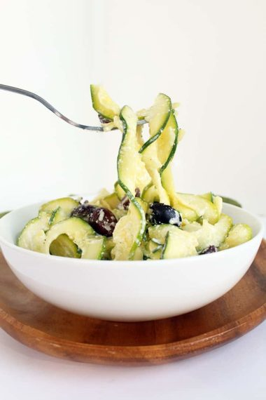 Lemon Ricotta Zucchini Pasta with Kalamata Olives