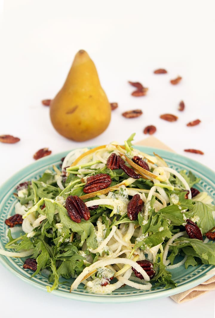Pear Noodle, Mizuna Greens and Spiced Pecans with Parsley-Goat Cheese Vinaigrette