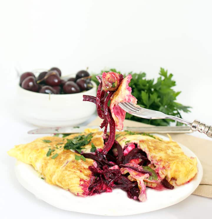 Beet Noodle, Avocado and Feta Omelet (or scramble)