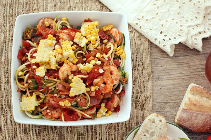 Shrimp, Bacon and Okra Zucchini Pasta
