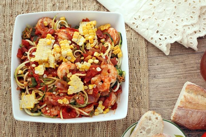 Shrimp, Bacon and Okra Zucchini Pasta