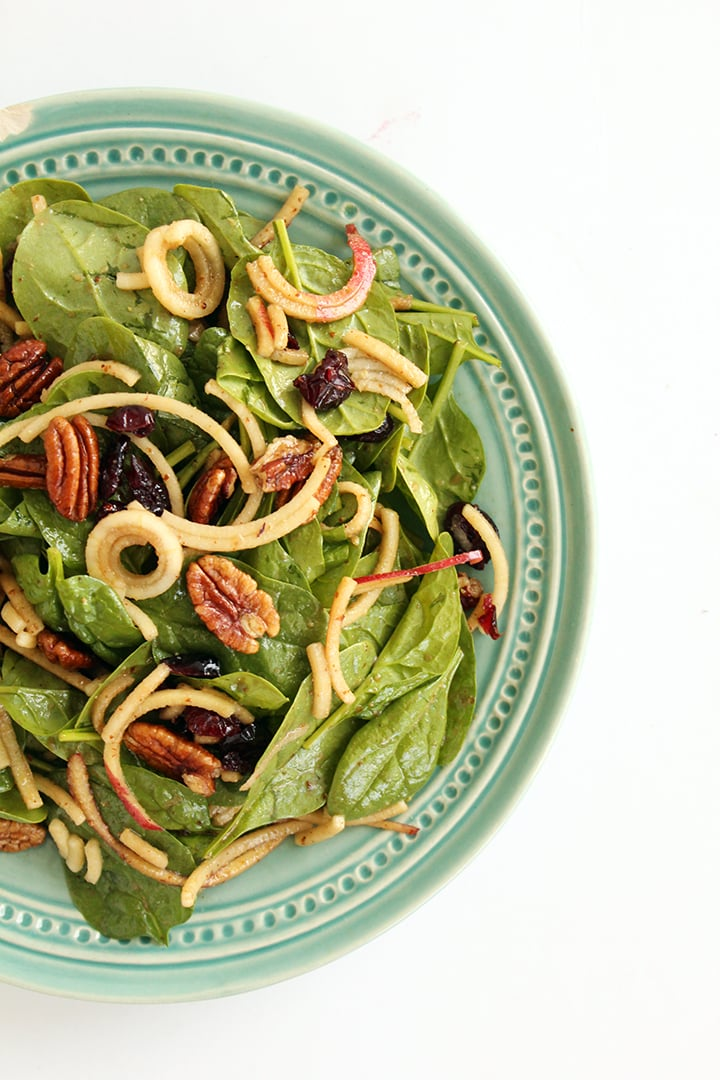 Spinach and Apple Noodle Salad with Pecans and Cranberries