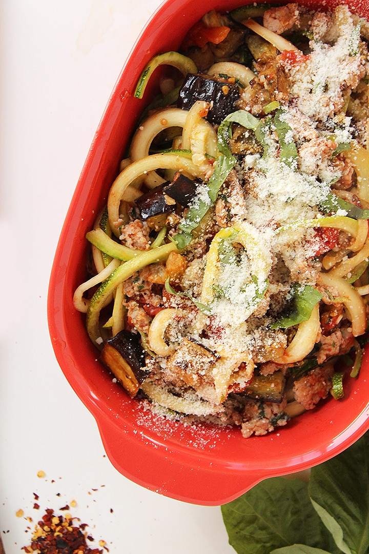 Spicy Eggplant and Sausage Zucchini Pasta
