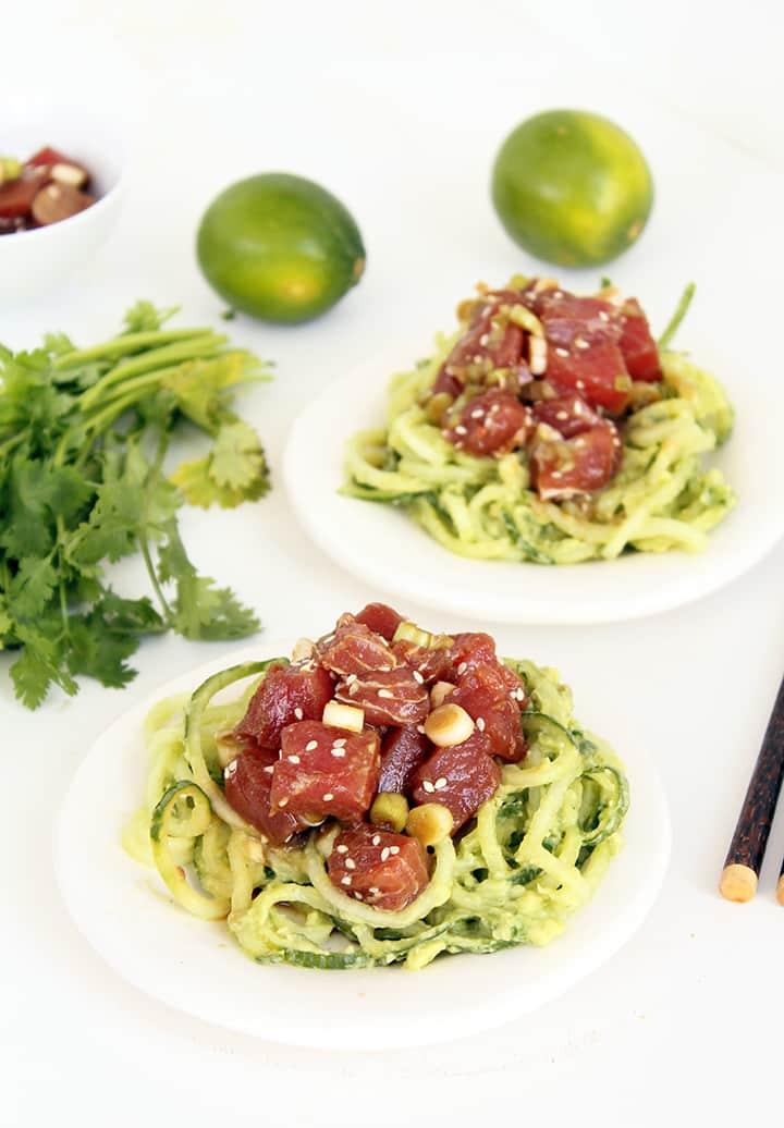 Ahi Tuna Poke Bowls with Avocado and Cucumber Noodles