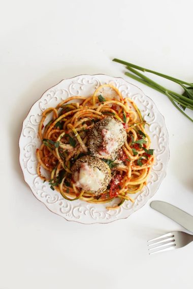 Zucchini Spaghetti and Quinoa Crusted Chicken Parmesan Meatballs