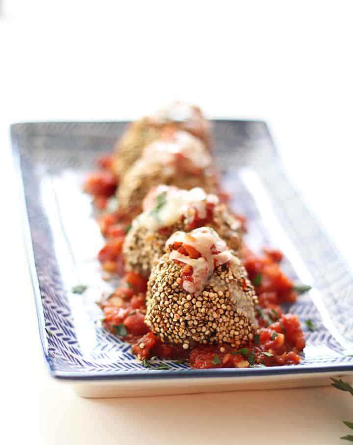 Zucchini Spaghetti and Quinoa Crusted Chicken Parmesan Meatballs