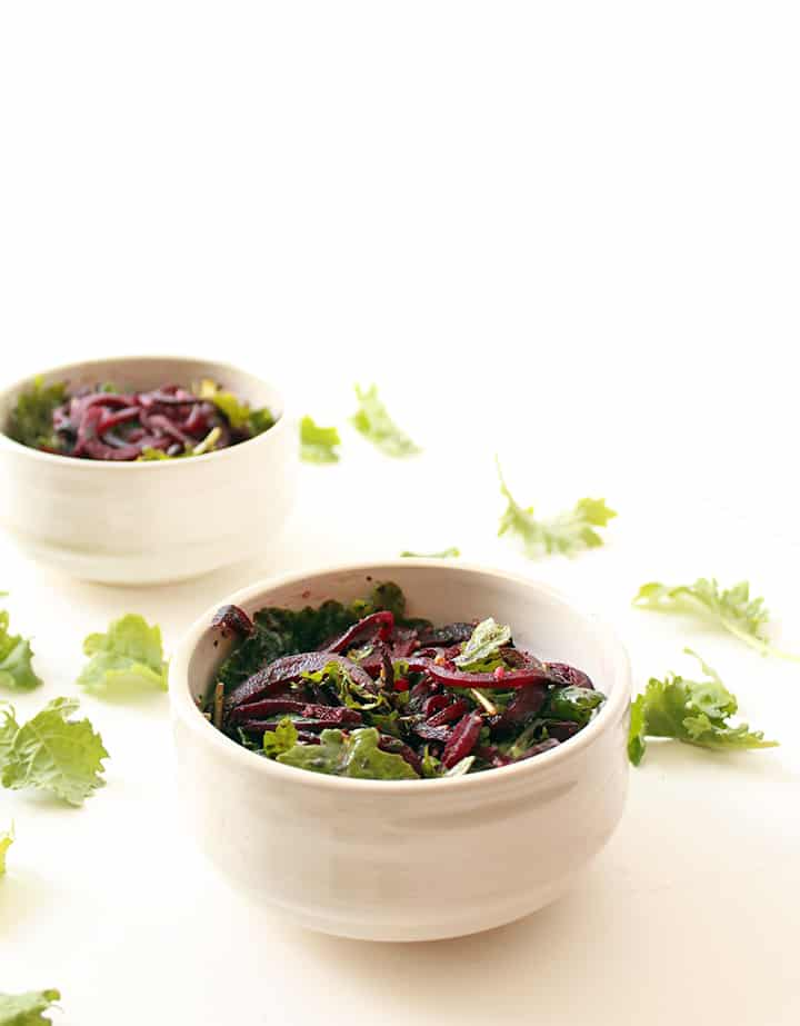Roasted Beet Noodles with Pesto and Baby Kale