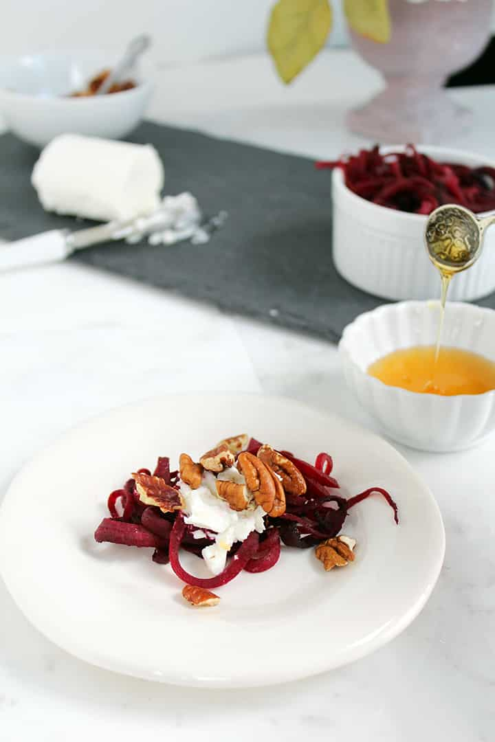 Mini Cheese Plate with Warm Beet Noodles