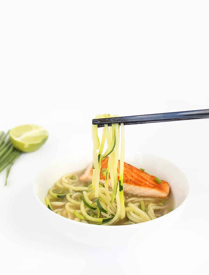 Ginger Seared Salmon in Miso Broth with Jalapeno-Scallion Relish and Zucchini Noodles