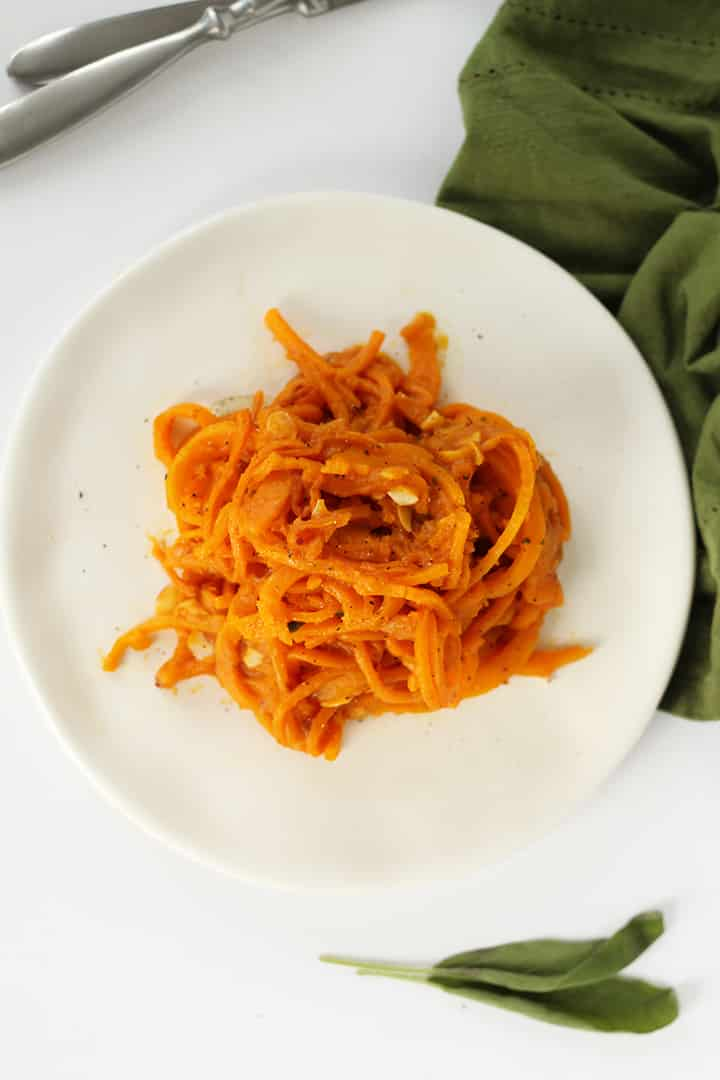 Vegan Butternut Squash Noodles and Toasted Almonds with Pumpkin-Sage Sauce