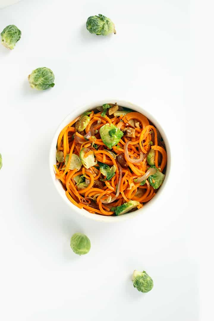 Butternut Squash Noodles with Shredded Brussels Sprouts, Walnuts and Caramelized Onions
