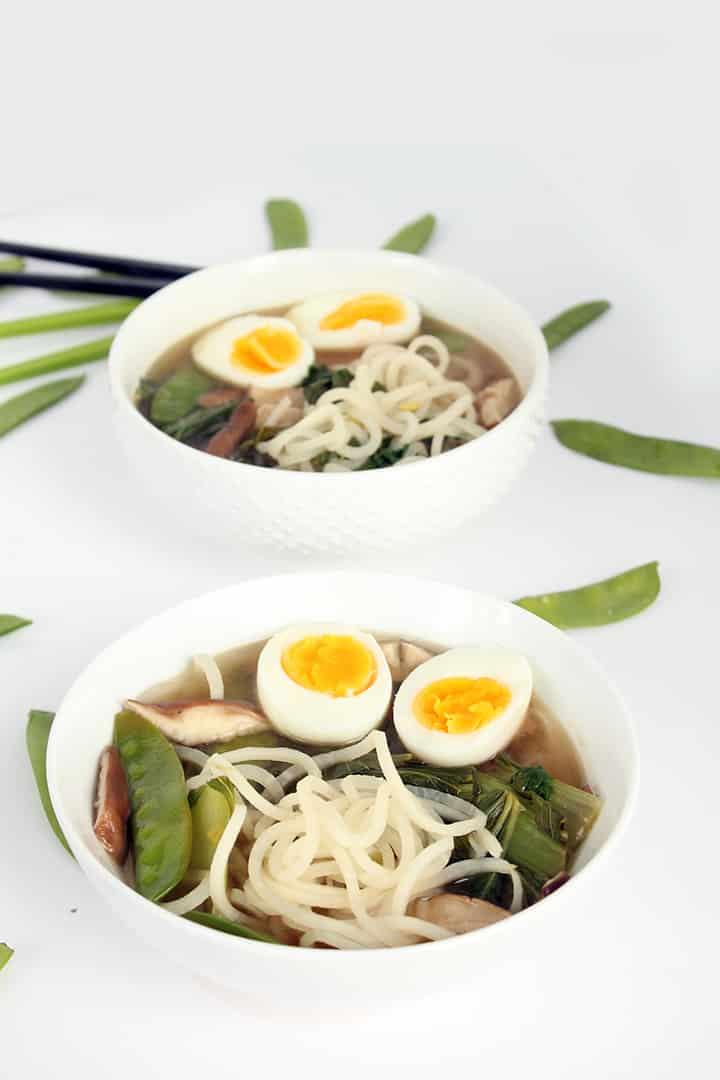 Sesame-Ginger Daikon Noodle Soup with Bok Choy, Snow Peas and Shiitake Mushrooms