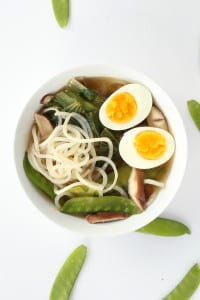 Sesame-Ginger Daikon Noodle Soup with Bok Choy, Snow Peas and Shiitake Mushrooms