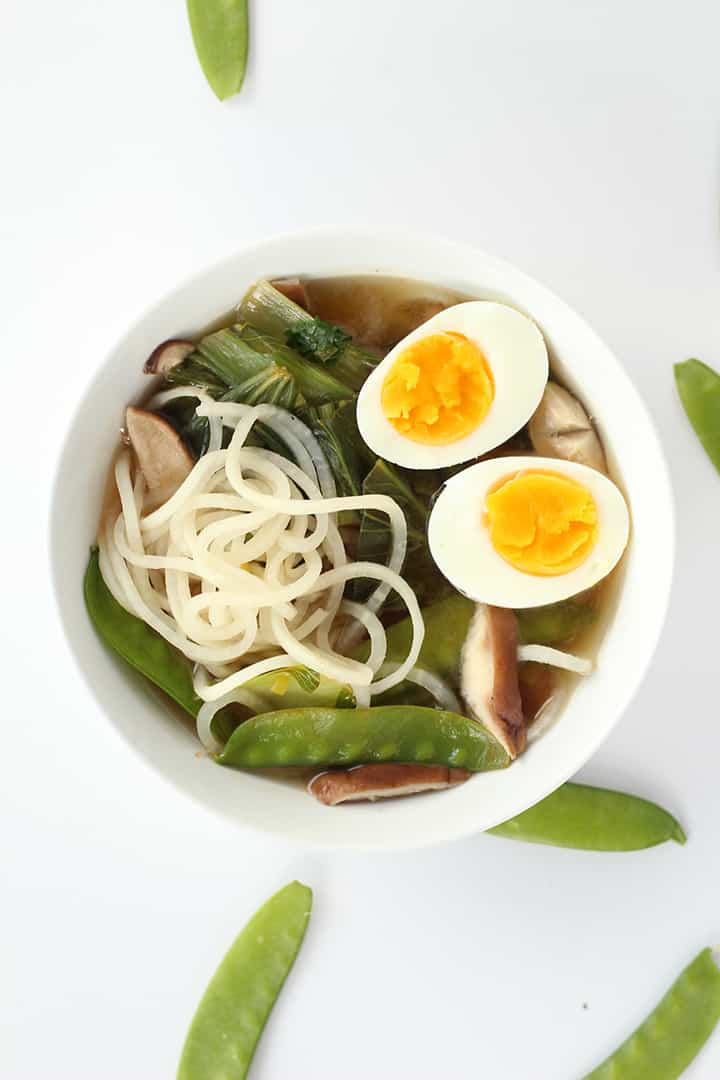 Sesame-Ginger Daikon Noodle Soup with Bok Choy, Snow Peas and Shiitake ...