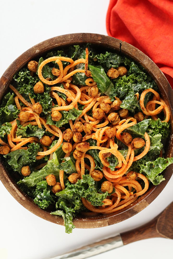 ... Kale and Sweet Potato Noodle Caesar Salad with Crispy Spiced Chickpeas
