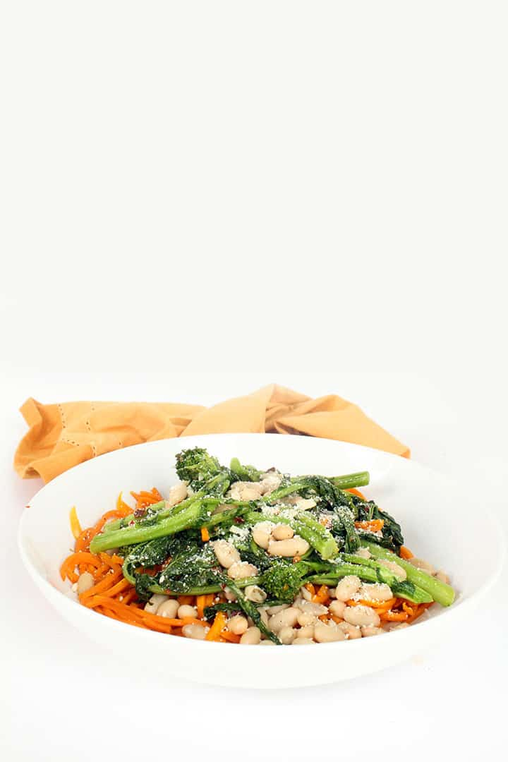 Butternut Squash Pasta with Spicy Garlicky Broccoli Rabe and White Beans