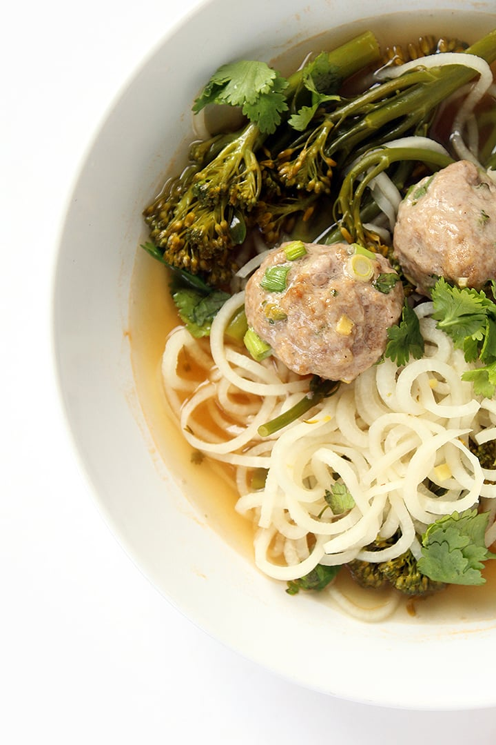Daikon Noodles and Broccolini with Asian Pork Meatballs