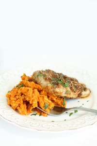 "Pumpkin-Goat Cheese Sweet Potato ""Risotto"" with Maple-Pecan Crusted Pork"
