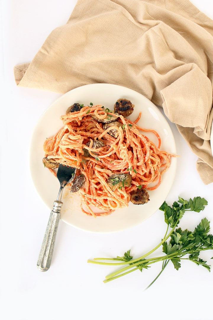 Carrot Noodles with Mushrooms and Sausage in a Cashew Cream Sauce