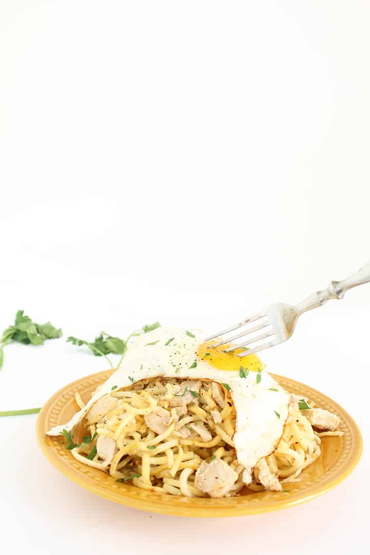 Parsnip Noodles with Tuna and Fried Egg