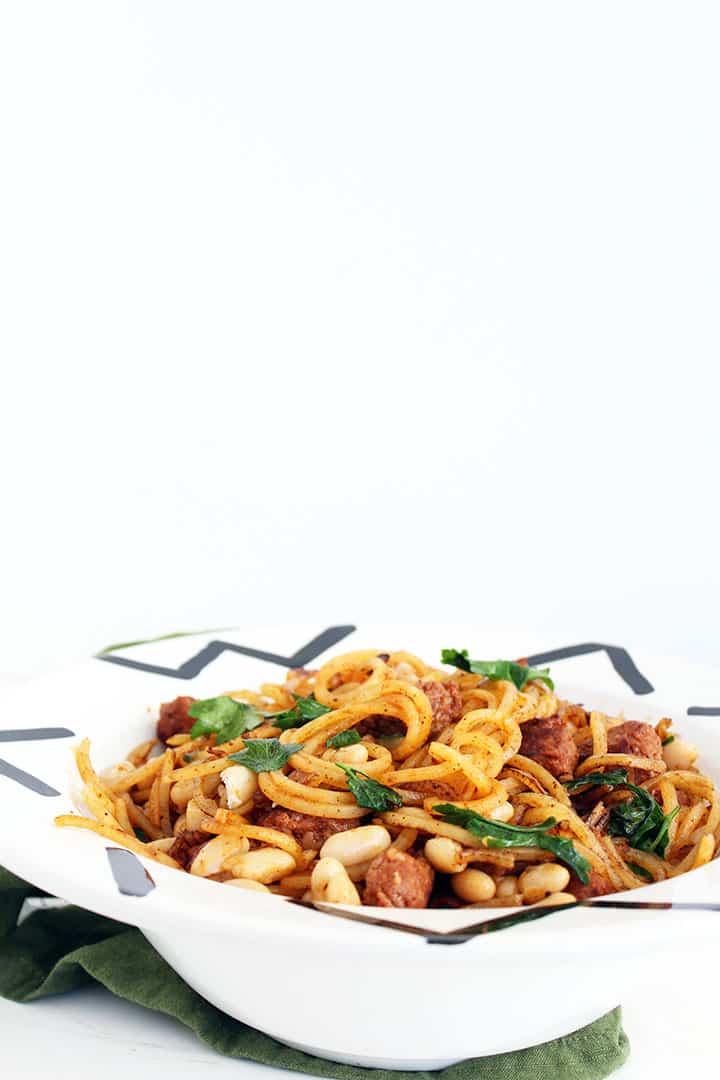 Spicy Garlic Potato Noodles, Chorizo, Parsley and White Beans