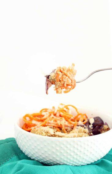Sweet Potato, Roasted Onion and Quinoa Bowl with Tahini-Maple Dressing