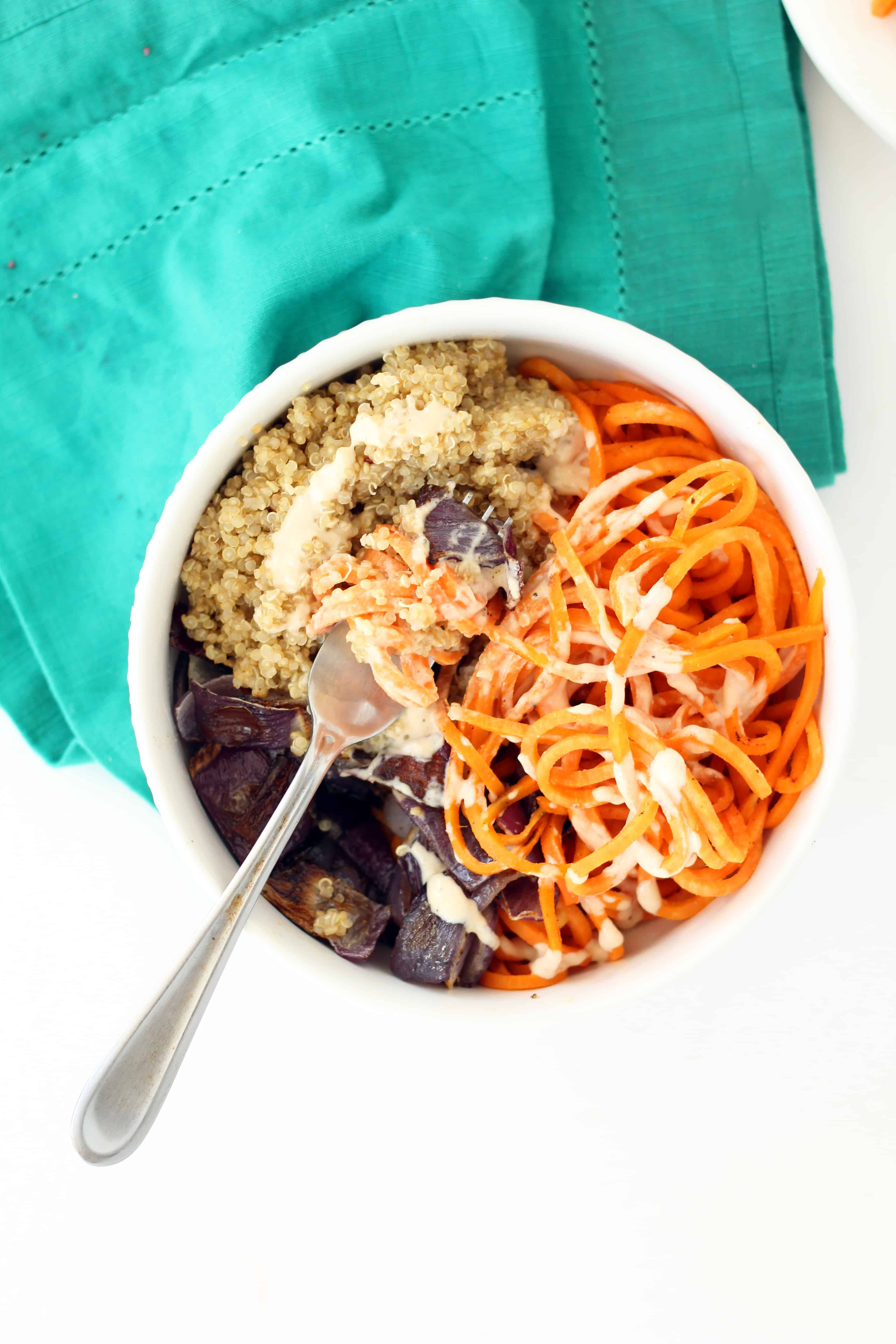 Sweet Potato, Roasted Onion and Quinoa Bowl with Tahini-Maple Dressing