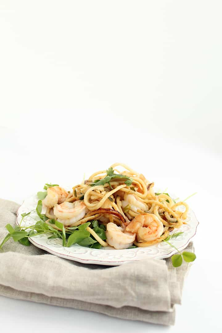 Miso-Ginger Glazed Taro Noodles and Shrimp with Scallions and Pea Shoots