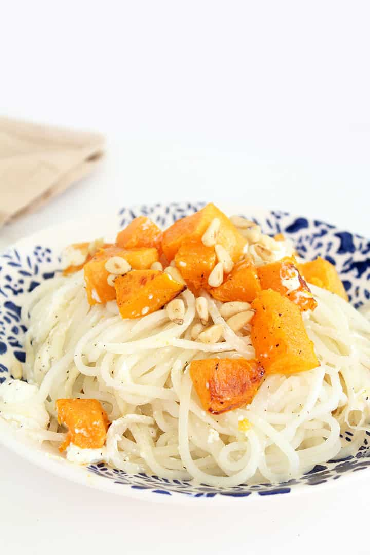 Turnip Noodles with Roasted Butternut Squash, Toasted Pine Nuts and Goat Cheese