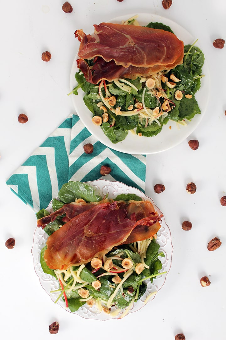 Apple Noodle and Prosciutto Baby Kale Salad with Roasted Hazelnuts + Thanksgiving Roundup