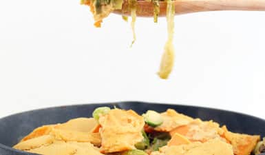 Vegan Sweet Potato and Brussels Sprout Gratin with Marcona Almond-Maple Cream Sauce