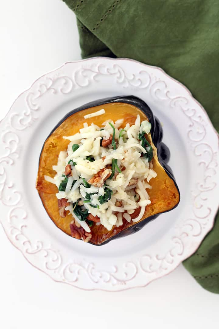 "Turnip and Spinach Rosemary ""Risotto"" Stuffed Acorn Squash with Pecans"