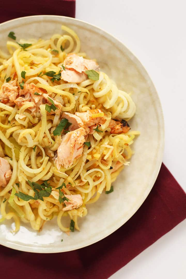 Lemon-Oregano Salmon and Leek Parsnip Pasta