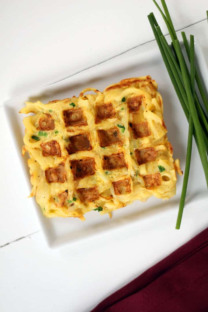 Savory Parsnip Noodle Chive Waffles (Parsnaffles)