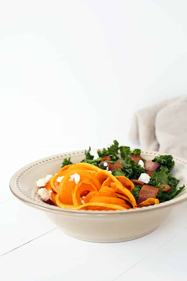 "Thick Bacon, Kale and Goat Cheese Butternut Squash ""Fettucine"""