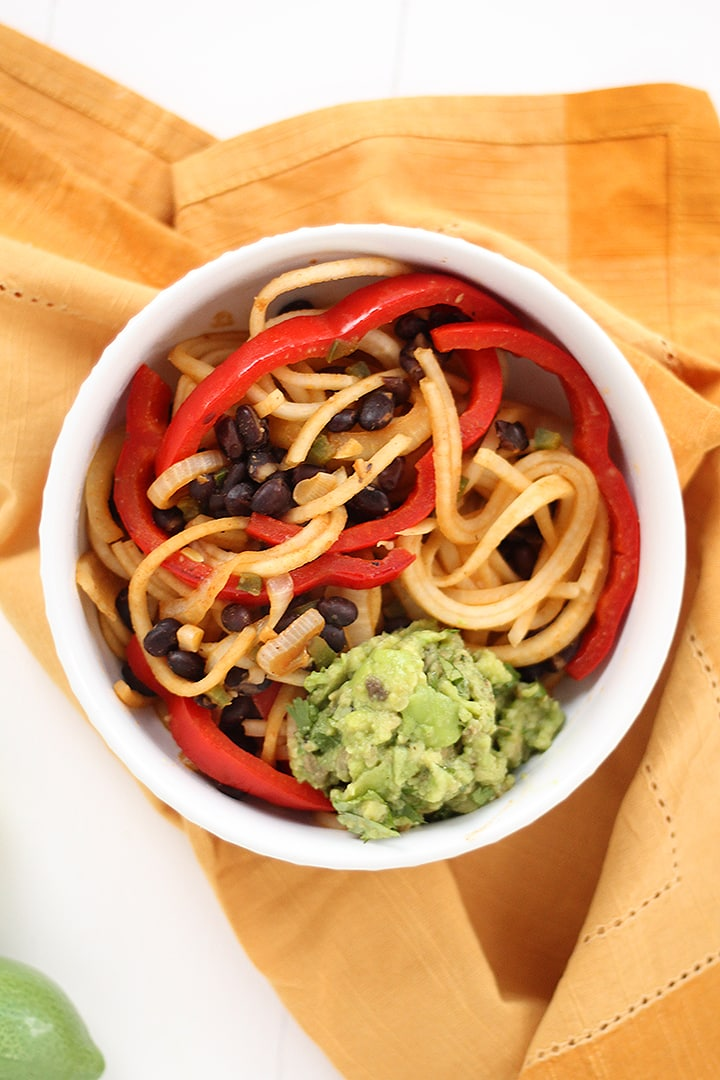 Black Bean and Avocado-Jalapeno Turnip Noodle Bowl