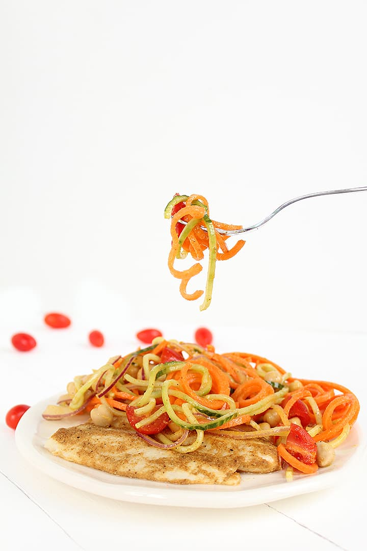 Indian-Spiced Cod and Spiralized Vegetable-Garbanzo Salad