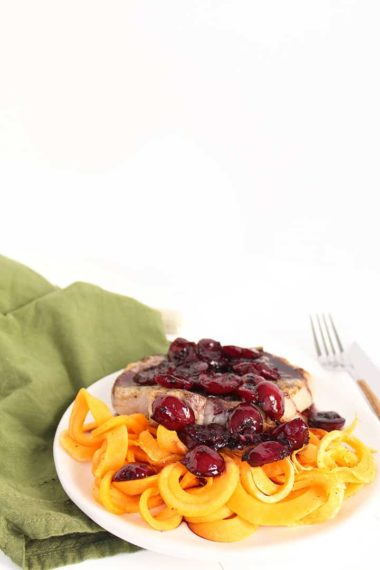 Pork Chops with Cherry-Tarragon Sauce and Butternut Squash Fettucine