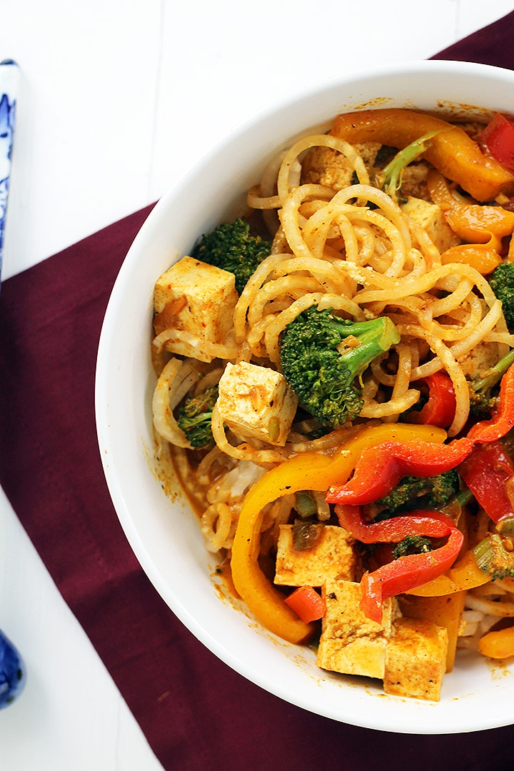 Vegetable and Tofu Coconut Red Curry Daikon Noodles