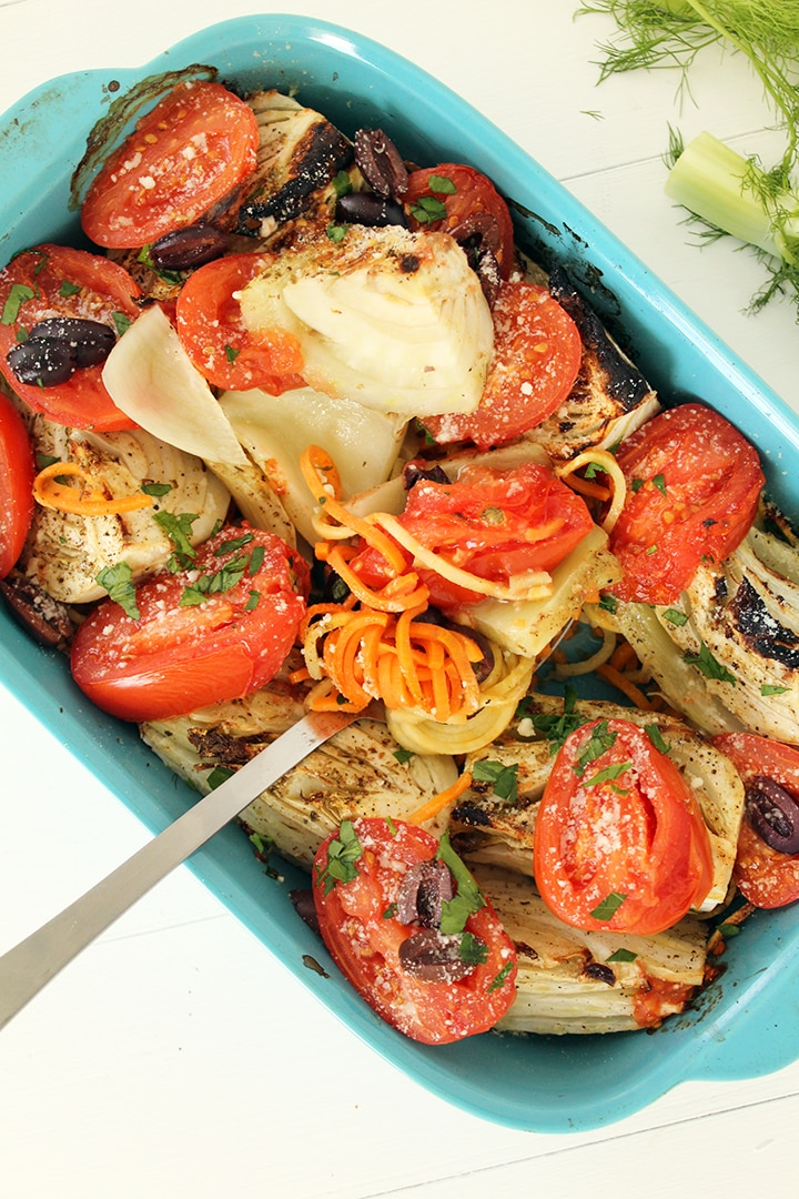 Roasted Fennel with Sweet Potato Noodles, Charred Tomatoes, Olives and Pecorino