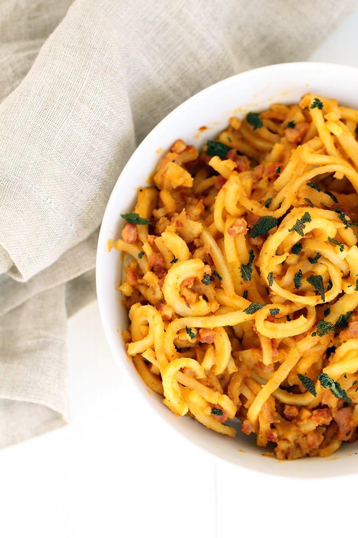 Parsnip Noodles with Leftover Christmas Ham and Butternut Squash-Parmesan Sage Sauce