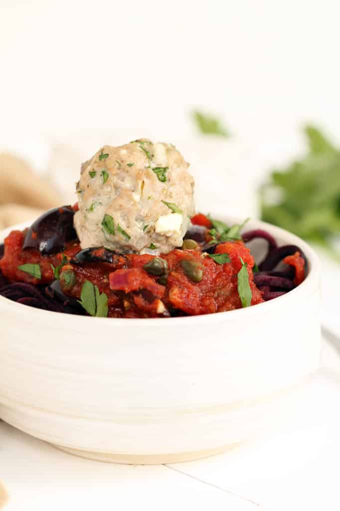 Greek Paleo Turkey Meatballs and Tomato Beet Spaghetti | Inspiralized