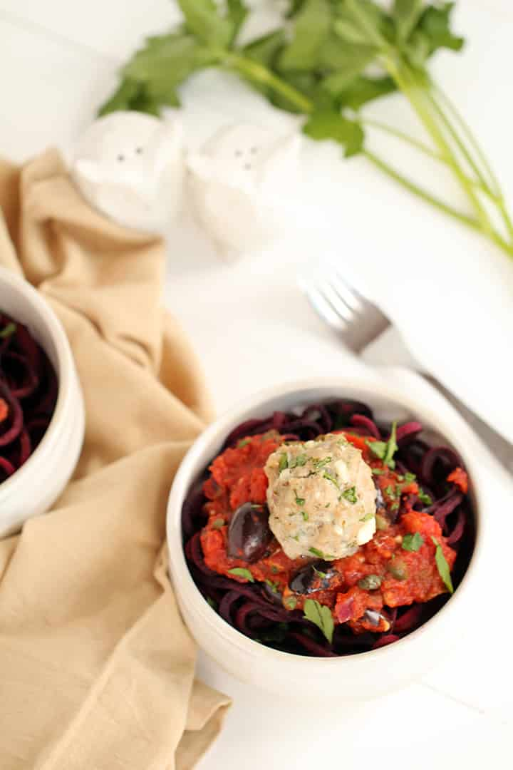 Greek Paleo Turkey Meatballs and Tomato Beet Spaghetti