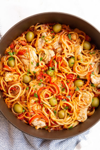 One Pot Basque Chicken with Spiralized Potatoes