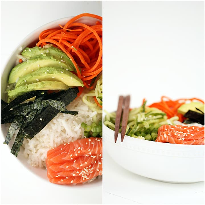 Spiralized Sushi Bowl with Salmon Sashimi and Ginger Miso Dressing