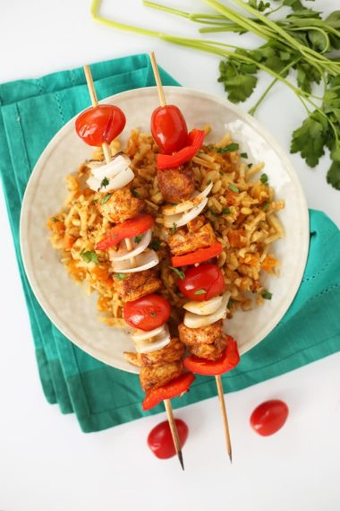 Spiced Chicken Kabobs over Moroccan Celeriac Rice