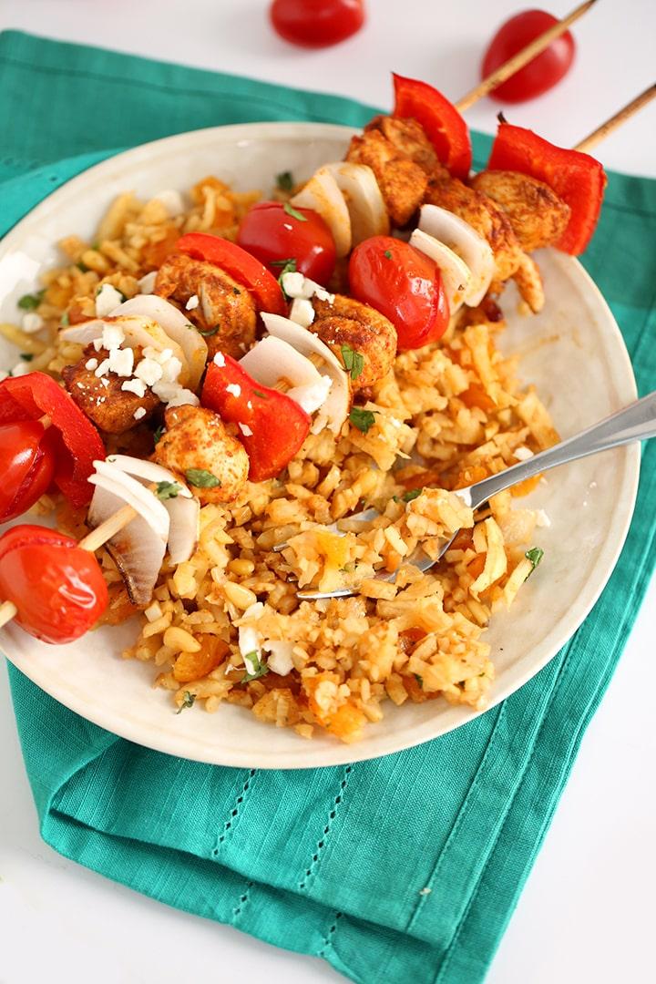 Spiced Chicken Kabobs over Moroccan Celeriac Rice