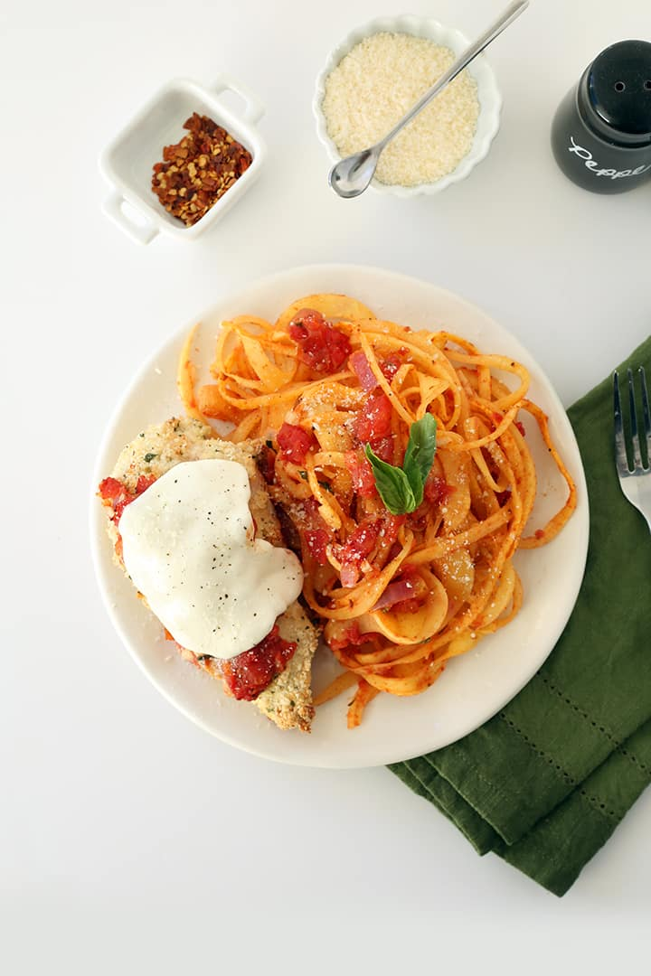 Gluten Free Chicken Parmesan with Rutabaga Noodles