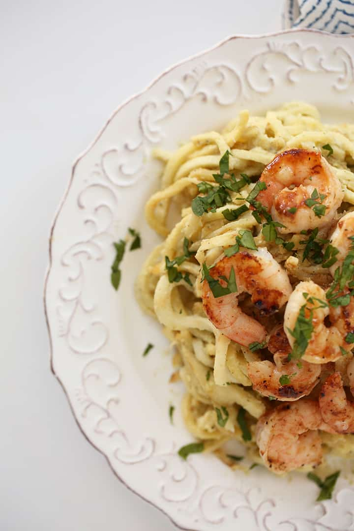Parsnip Noodles with Lemon-Basil Cashew Cream Sauce and Garlic Shrimp