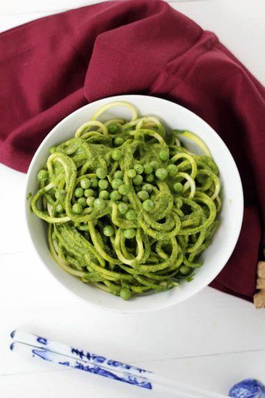 Vegan Creamy Ginger-Coconut Kale Zucchini Spaghetti